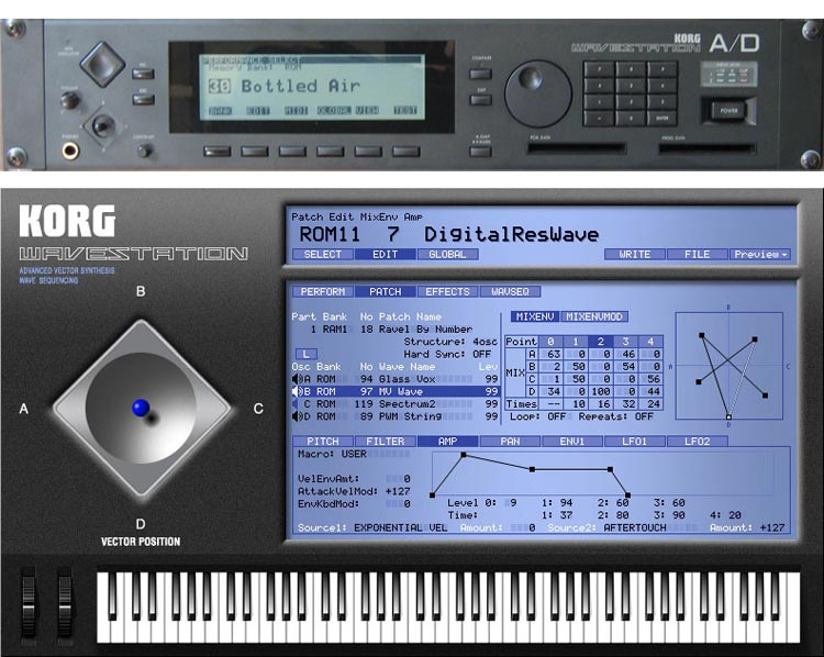 Korg Wavestation A/D (arriba) y la secuela virtual de Legacy Collection