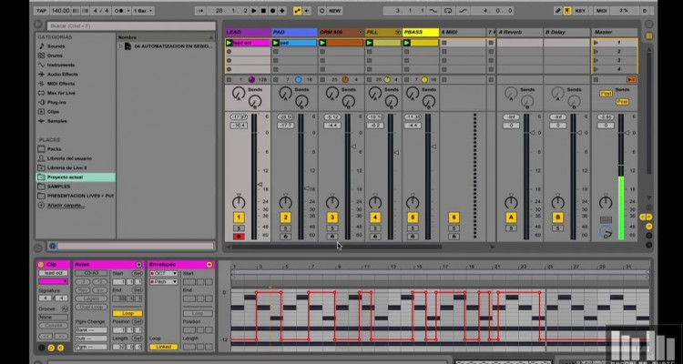 Ableton Live 9, vista Arreglo optimizada