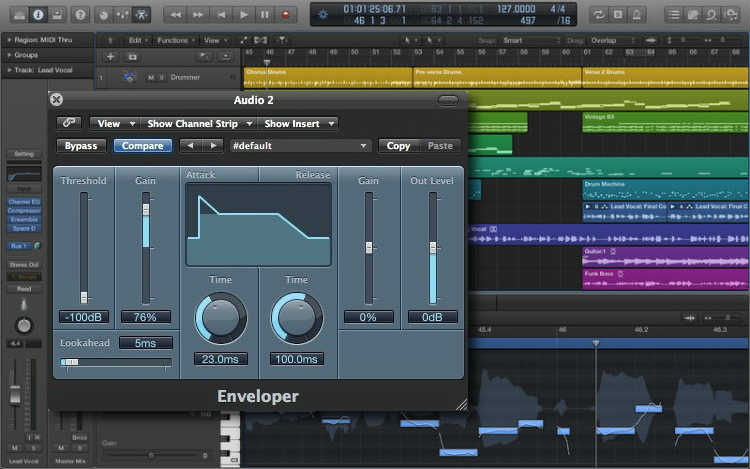 El plugin Enveloper incluido en Apple Logic Pro X