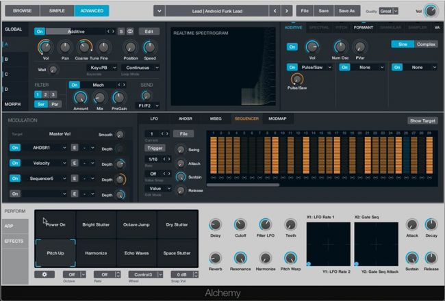 Logic 10.2, detalle del sintetizador virtual Alchemy
