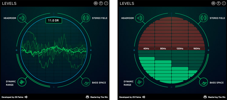Levels, paneles de 'Dynamic Range' y 'Bass Space'