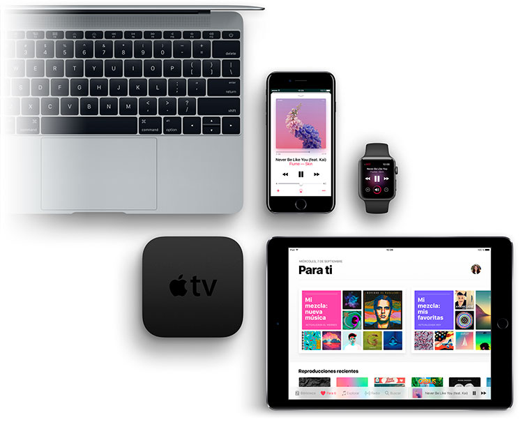 Disfruta de Apple Music desde una variada gama de dispositivos, que contempla PC y Mac, teléfonos iPhone y Android, iPad, tablets y más