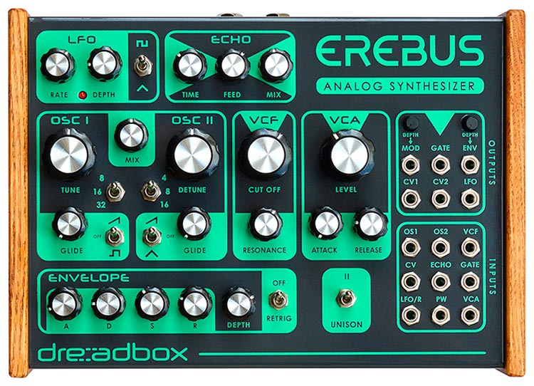 Dreadbox Erebus, panel frontal