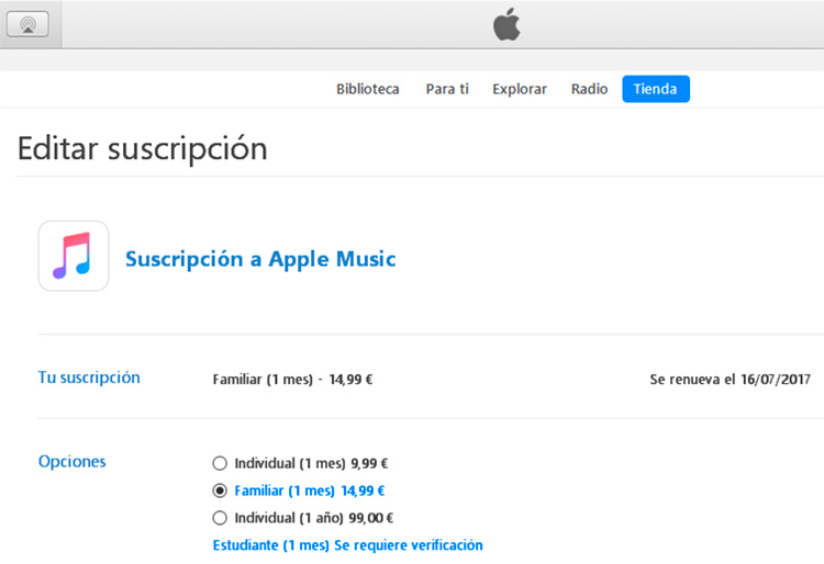 Nuevo plan anual individual Apple Music por 99€
