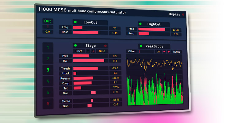 Descarga el compresor multibanda VST gratis J1000 MCS6 para Windows, con seis etapas en serie