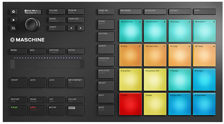 Maschine Mikro MK3, panel frontal