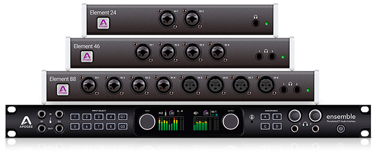 Los modos FX Rack y DualPath Monitoring están disponibles de forma exclusiva en los interfaces Apogee Ensemble Thunderbolt y Element Series