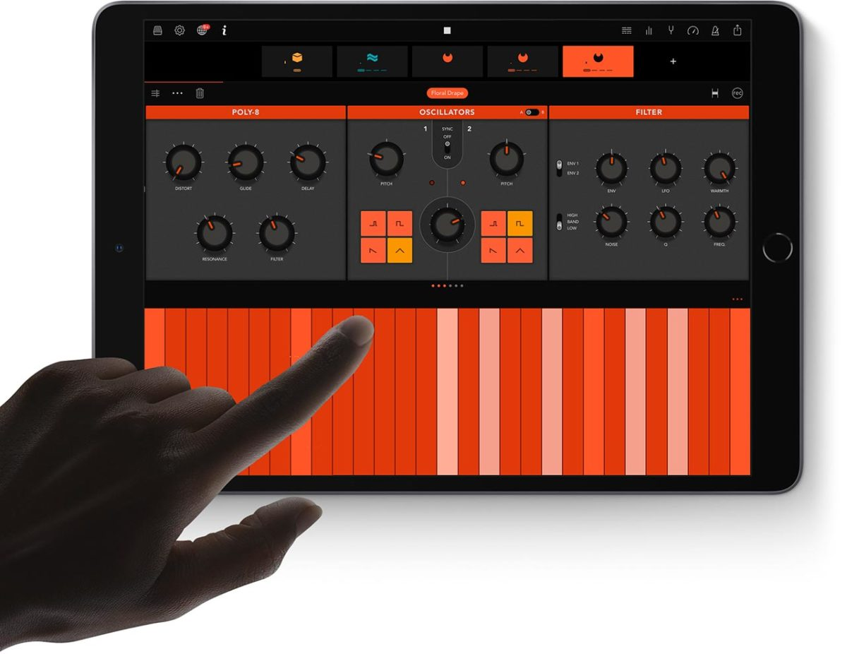 Nuevo iPad Air 2019 ejecutando la app musical Ampify Groovebox