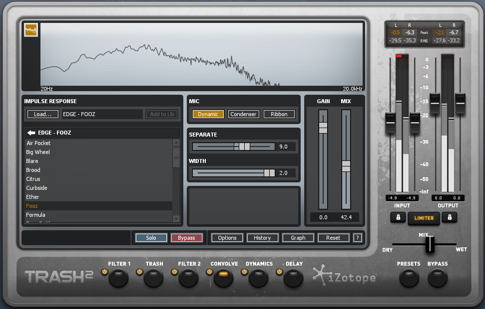 El panel de iZotope Trash 2