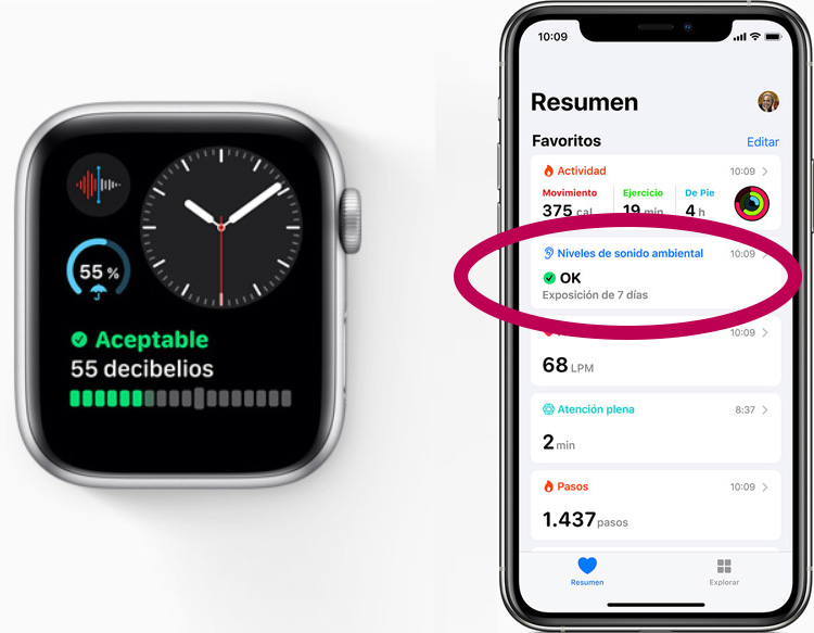 Apple Watch: Datos de 'Noise App' en 'Salud' de iOS 13