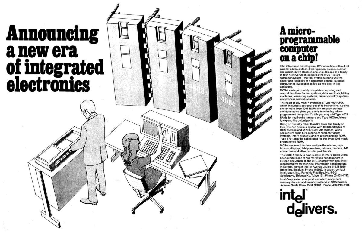 Anuncio de Intel 4004 en la revista Electronic News (1971)