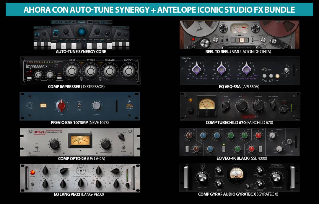 Los plugins entregados en oferta junto a los interfaces de Antelope Audio