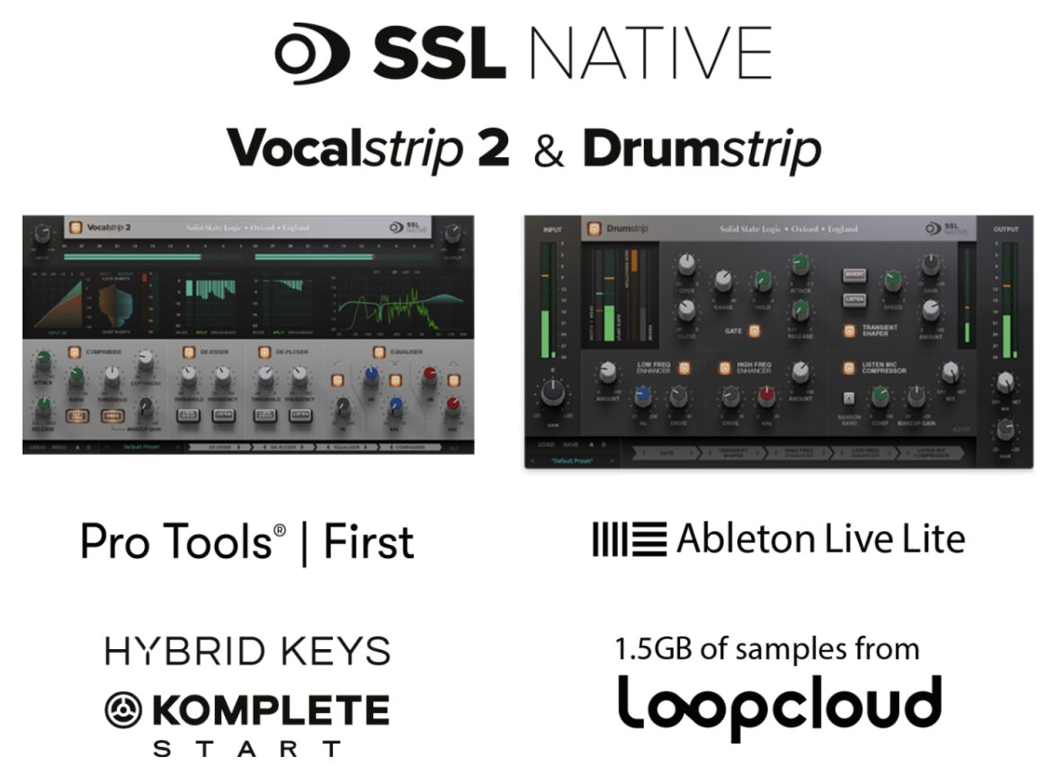 SSL Native Vocalstrip 2 y DrumStrip más otras aplicaciones musicales incluidas con los interfaces de audio SSL 2 y SSL 2+