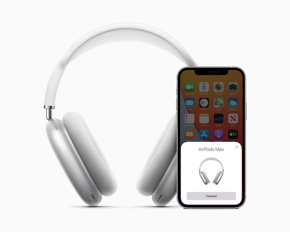 AirPods Max en gris con iPhone