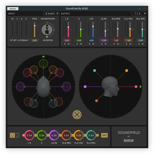 El plugin de RODE, con todos sus controles a la vista, para VST, AAX y Audio Units