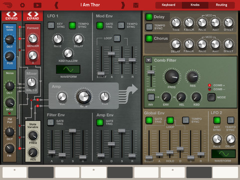 Propellerhead Thor for iPad, captura de pantalla