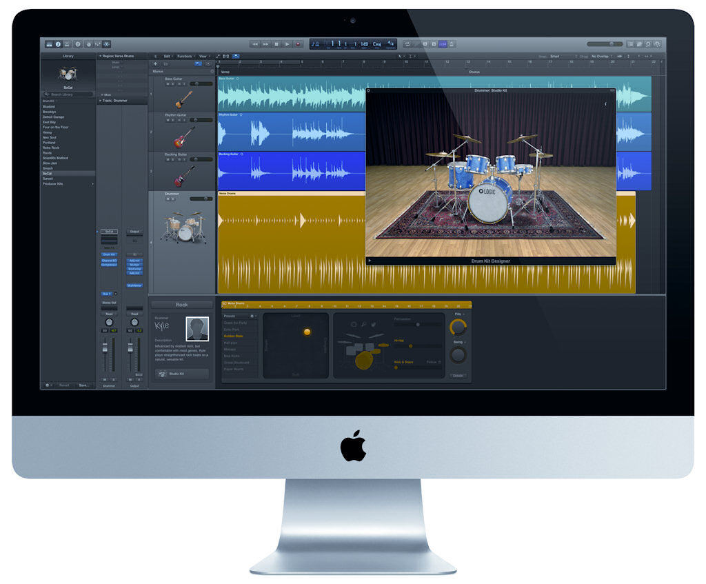 Apple Logic X, con Drummer desplegado en pantalla