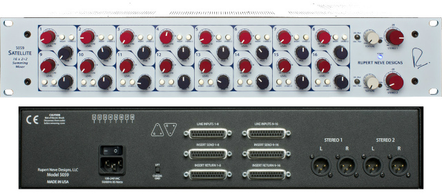 Panel frontal y posterior del sumador analógico Rupert Neve Designs Satellite 5059