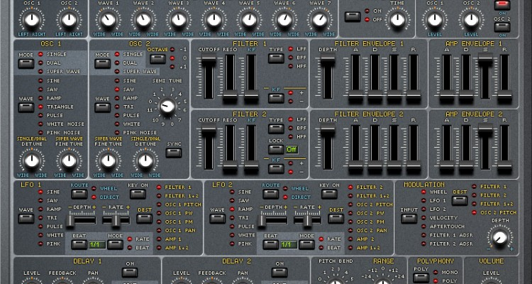 SuperWave P8, sintetizador VST analógico-virtual gratis para Windows